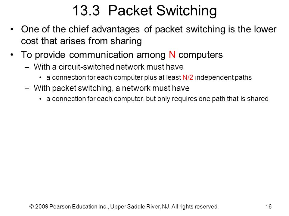 © 2009 Pearson Education Inc., Upper Saddle River, NJ. All rights reserved.16 13.3 Packet Switching One of the chief advantages of packet switching is