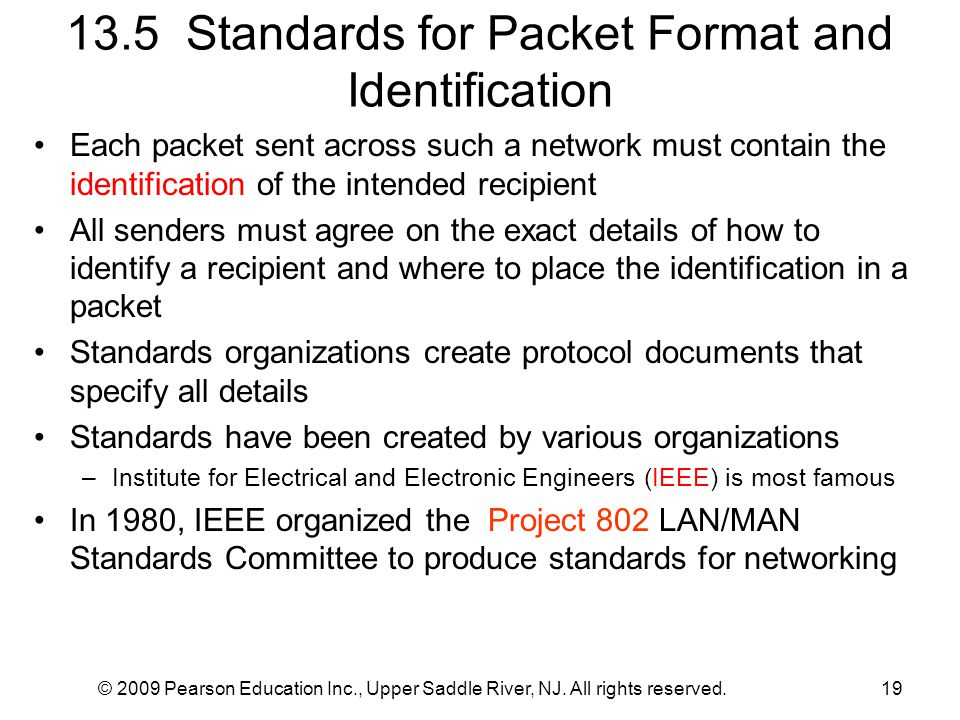 © 2009 Pearson Education Inc., Upper Saddle River, NJ. All rights reserved.19 13.5 Standards for Packet Format and Identification Each packet sent acr