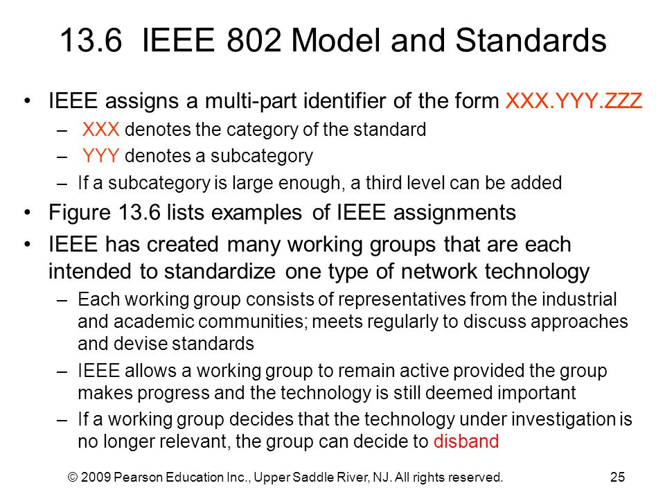 © 2009 Pearson Education Inc., Upper Saddle River, NJ. All rights reserved.25 13.6 IEEE 802 Model and Standards IEEE assigns a multi-part identifier o