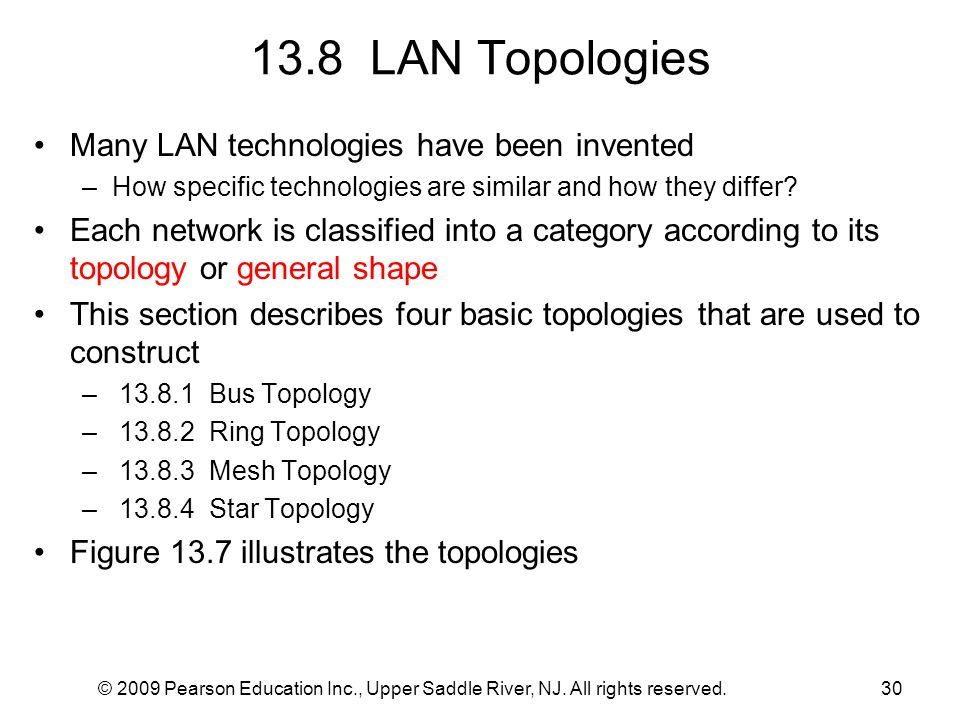 © 2009 Pearson Education Inc., Upper Saddle River, NJ. All rights reserved.30 13.8 LAN Topologies Many LAN technologies have been invented –How specif