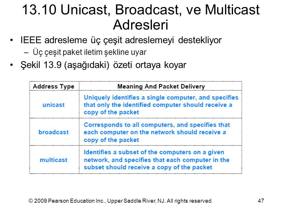 © 2009 Pearson Education Inc., Upper Saddle River, NJ. All rights reserved.47 13.10 Unicast, Broadcast, ve Multicast Adresleri IEEE adresleme üç çeşit