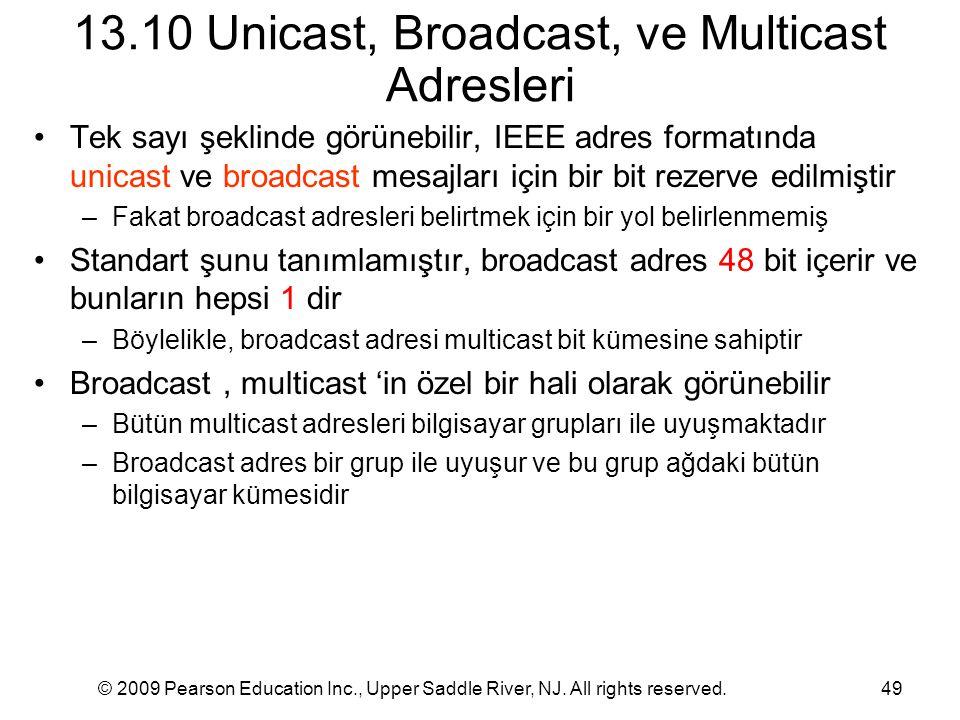 © 2009 Pearson Education Inc., Upper Saddle River, NJ. All rights reserved.49 13.10 Unicast, Broadcast, ve Multicast Adresleri Tek sayı şeklinde görün