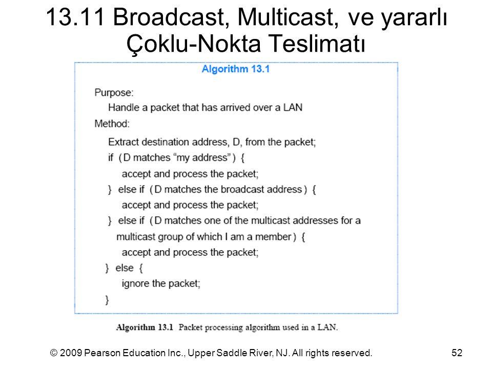 © 2009 Pearson Education Inc., Upper Saddle River, NJ. All rights reserved.52 13.11 Broadcast, Multicast, ve yararlı Çoklu-Nokta Teslimatı