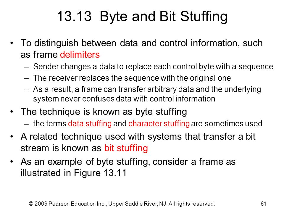 © 2009 Pearson Education Inc., Upper Saddle River, NJ. All rights reserved.61 13.13 Byte and Bit Stuffing To distinguish between data and control info