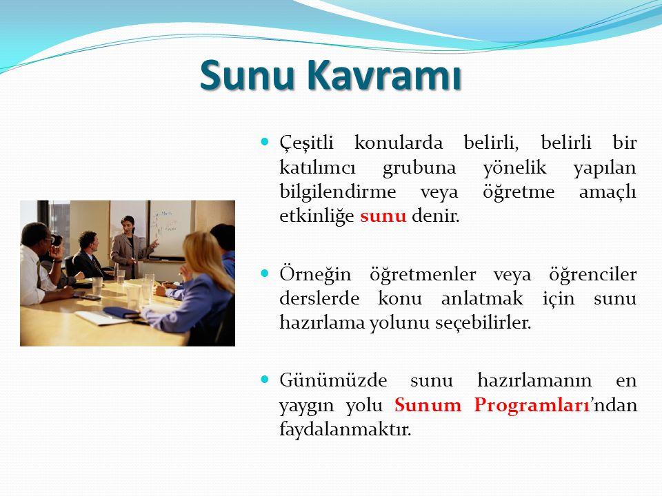 Sunu Kavramı Sunu programlarının işlevi nedir.