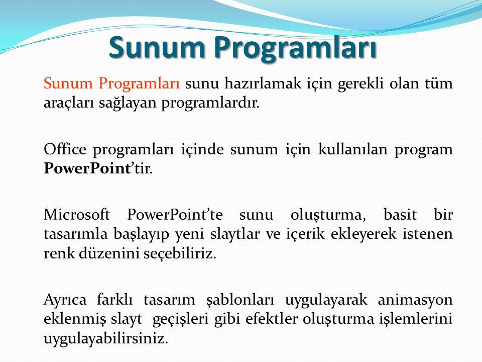 Sunum Programları sunu hazırlamak için gerekli olan tüm araçları sağlayan programlardır.
