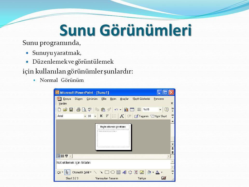 Sunu Görünümleri Sunu programında, Sunuyu yaratmak, Düzenlemek ve görüntülemek için kullanılan görünümler şunlardır: Normal Görünüm