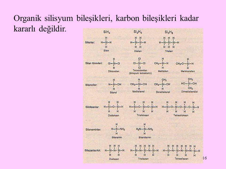 16 Organik silisyum bileşikleri, karbon bileşikleri kadar kararlı değildir.
