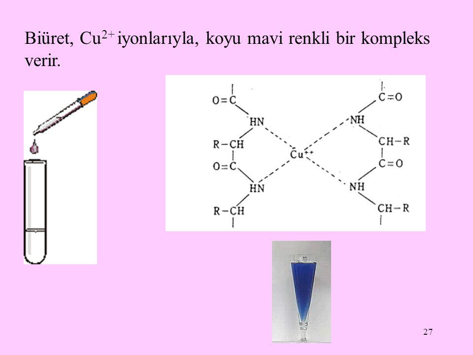 27 Biüret, Cu 2+ iyonlarıyla, koyu mavi renkli bir kompleks verir.