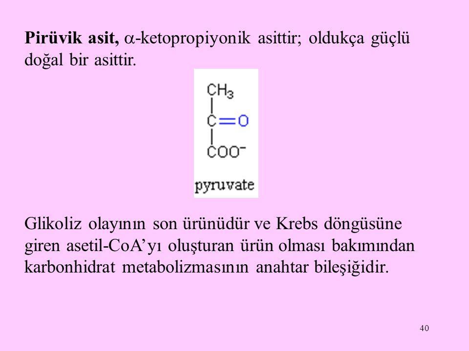 40 Pirüvik asit,  -ketopropiyonik asittir; oldukça güçlü doğal bir asittir. Glikoliz olayının son ürünüdür ve Krebs döngüsüne giren asetil-CoA'yı olu