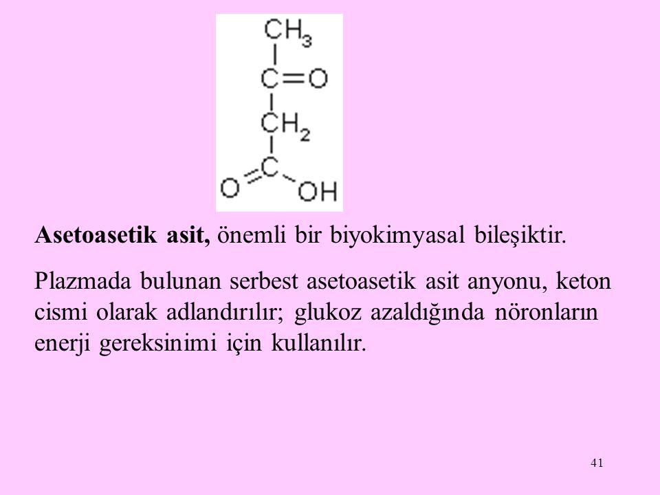 41 Asetoasetik asit, önemli bir biyokimyasal bileşiktir. Plazmada bulunan serbest asetoasetik asit anyonu, keton cismi olarak adlandırılır; glukoz aza