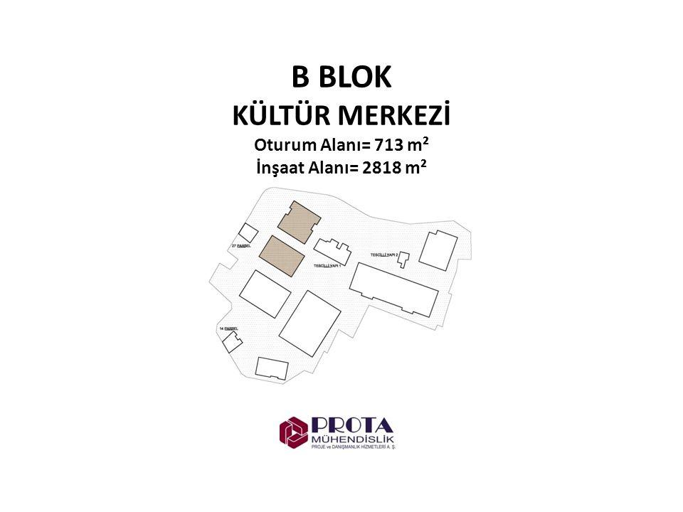 B BLOK KÜLTÜR MERKEZİ Oturum Alanı= 713 m² İnşaat Alanı= 2818 m²