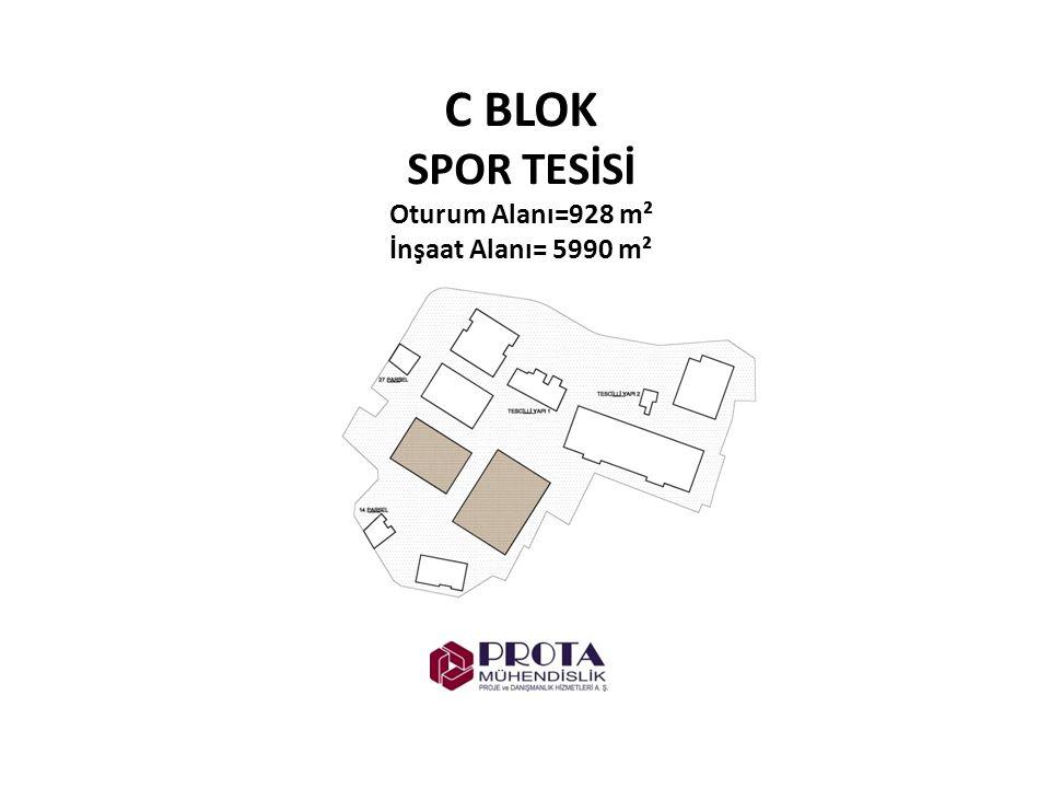 C BLOK SPOR TESİSİ Oturum Alanı=928 m² İnşaat Alanı= 5990 m²