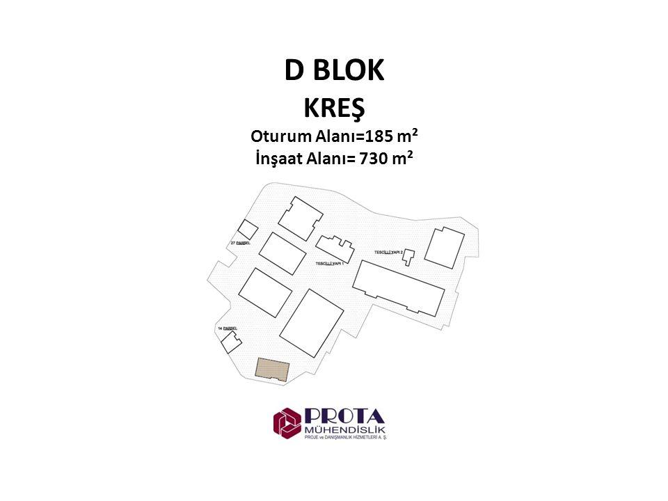 D BLOK KREŞ Oturum Alanı=185 m² İnşaat Alanı= 730 m²
