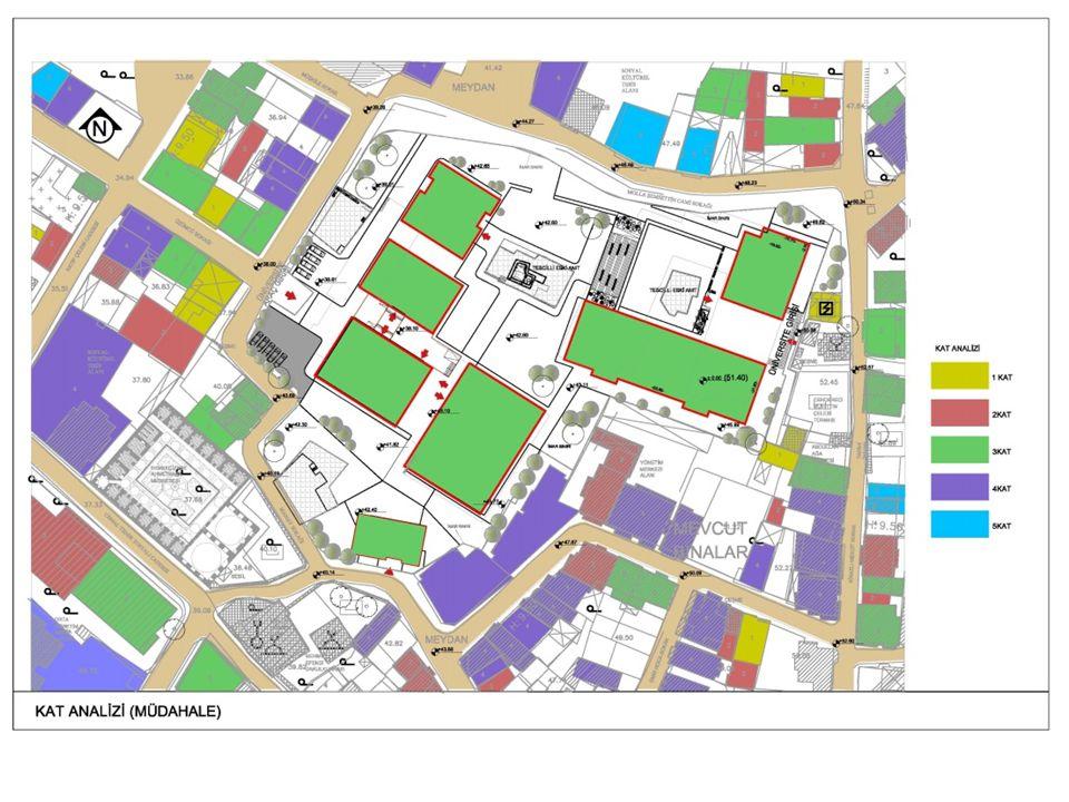 OTURUM ALANI HESABI Parsel Alanı= 12569.79m² TAKS=0.30 TAKS Hesabı= 12569.79x0.30= 3770.937m² A Blok= 1288 m² B Blok= 713 m² C Blok= 928 m² D Blok= 185 m² Tescilli Yapı-1= 211 m² Tescilli Yapı-2= 43 m² 14 Parsel= 87m² 27 Parsel= 81 m² TOPLAM ALAN= 3536 m²