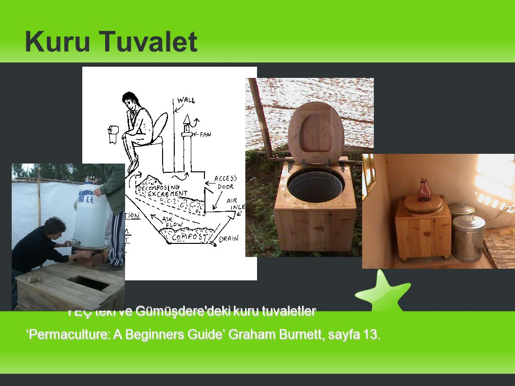 Kuru Tuvalet YEÇ'teki ve Gümüşdere'deki kuru tuvaletler YEÇ'teki ve Gümüşdere'deki kuru tuvaletler 'Permaculture: A Beginners Guide' Graham Burnett, s