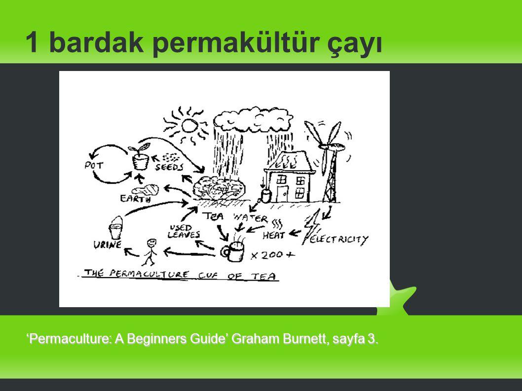 1 bardak permakültür çayı 'Permaculture: A Beginners Guide' Graham Burnett, sayfa 3.