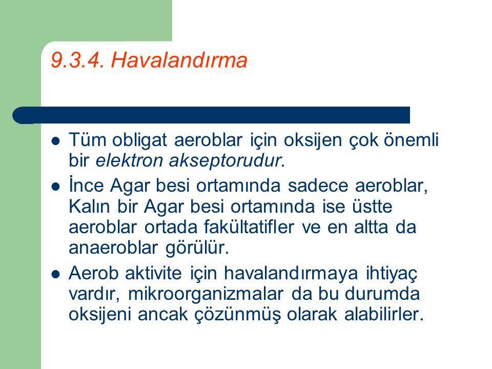 9.3.4. Havalandırma Tüm obligat aeroblar için oksijen çok önemli bir elektron akseptorudur. İnce Agar besi ortamında sadece aeroblar, Kalın bir Agar b