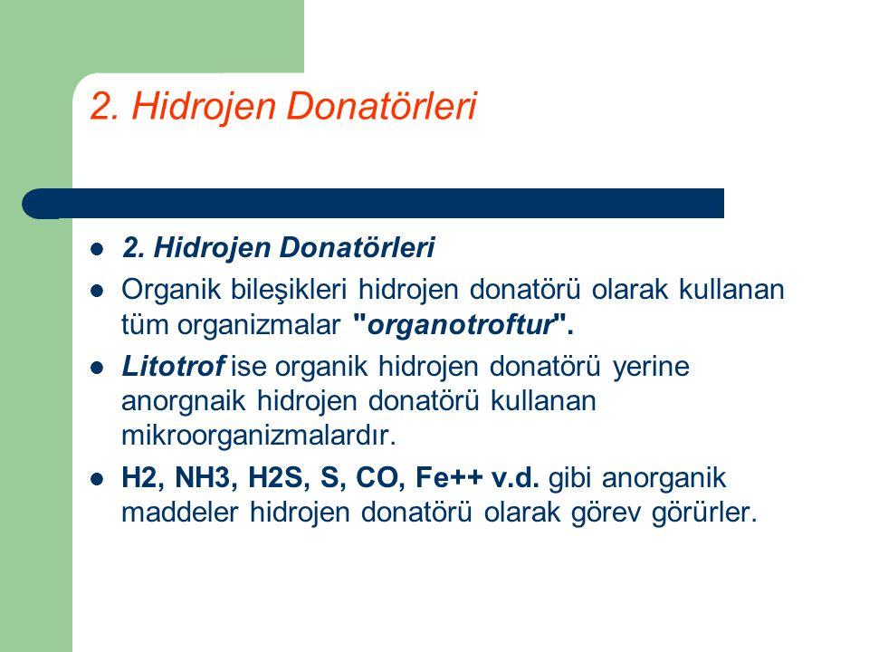 2. Hidrojen Donatörleri Organik bileşikleri hidrojen donatörü olarak kullanan tüm organizmalar