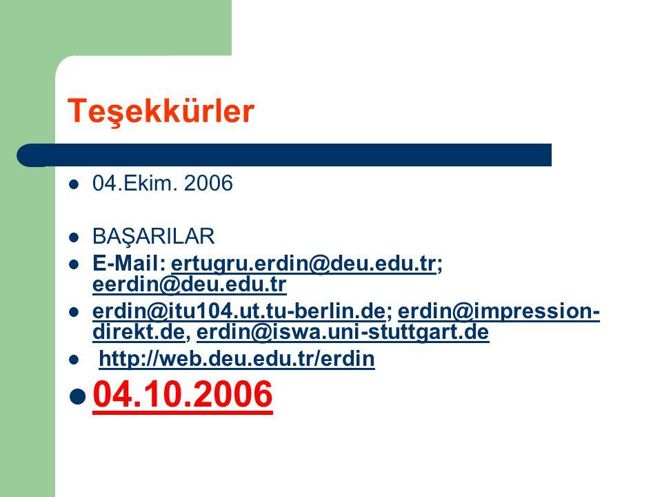Teşekkürler 04.Ekim. 2006 BAŞARILAR E-Mail: ertugru.erdin@deu.edu.tr; eerdin@deu.edu.trertugru.erdin@deu.edu.tr eerdin@deu.edu.tr erdin@itu104.ut.tu-b