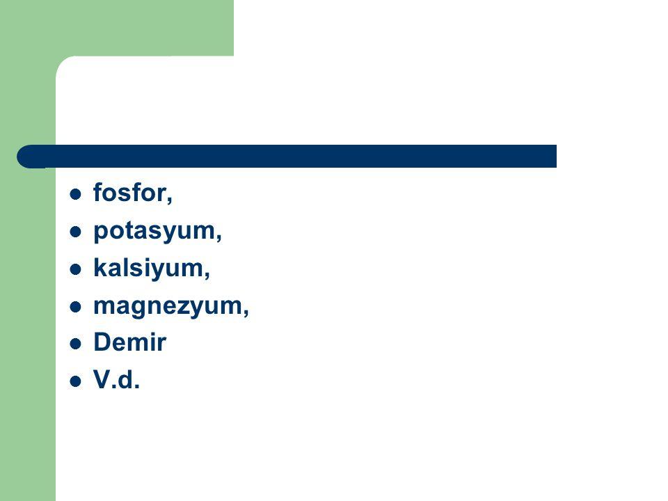 fosfor, potasyum, kalsiyum, magnezyum, Demir V.d.