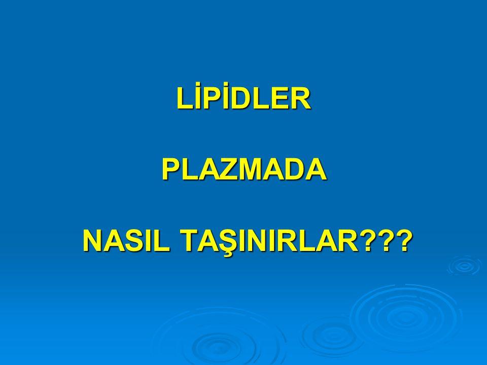 Plazma Lipidleri  Lipidler plazmada LİPOPROTEİNLER olarak transport edilirler  Lipoproteinlerdeki majör lipid sınıflandırılması:  Lipoproteinlerdeki majör lipid sınıflandırılması: Triacylglycerols (16%) Triacylglycerols (16%) Phospholipids (30%) Phospholipids (30%) Cholesterol (14%) Cholesterol (14%) Cholesterol esters (36%) Cholesterol esters (36%) Free fatty acids (4%) Free fatty acids (4%)  Lipids are water insoluble and require lipoprotein transporters to reach body tissues from the bloodstream