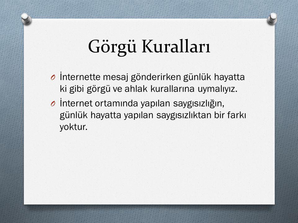 Görgü Kuralları O İnternette mesaj gönderirken günlük hayatta ki gibi görgü ve ahlak kurallarına uymalıyız.