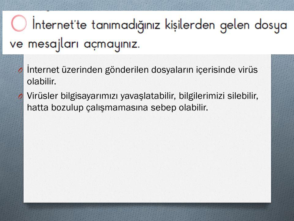 O İnternet üzerinden gönderilen dosyaların içerisinde virüs olabilir.
