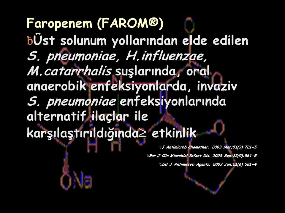 Faropenem (FAROM®) ƀ Üst solunum yollarından elde edilen S.