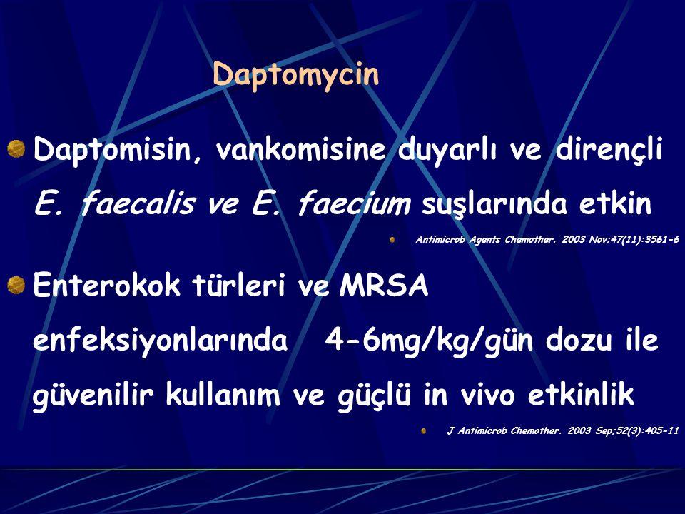 Daptomycin Daptomisin, vankomisine duyarlı ve dirençli E.