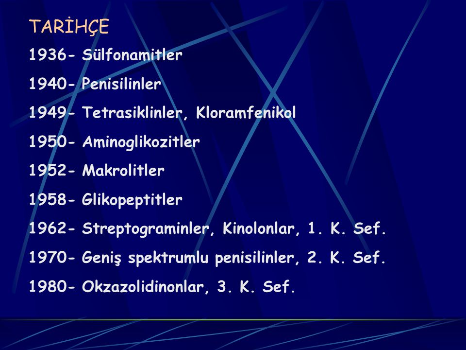 TARİHÇE 1936- Sülfonamitler 1940- Penisilinler 1949- Tetrasiklinler, Kloramfenikol 1950- Aminoglikozitler 1952- Makrolitler 1958- Glikopeptitler 1962- Streptograminler, Kinolonlar, 1.