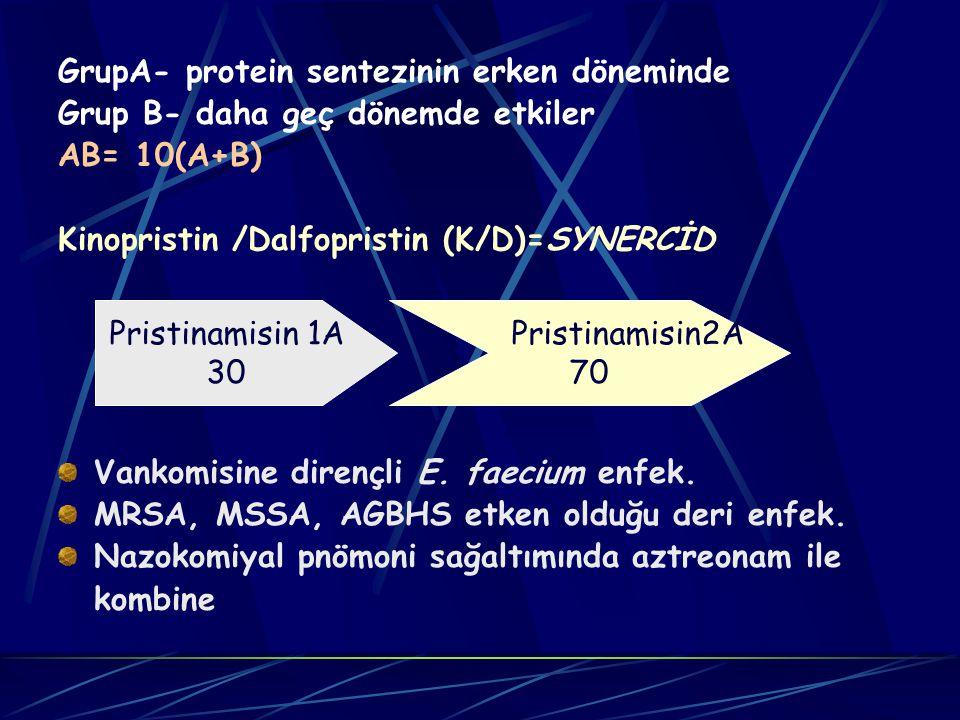 GrupA- protein sentezinin erken döneminde Grup B- daha geç dönemde etkiler AB= 10(A+B) Kinopristin /Dalfopristin (K/D)=SYNERCİD Vankomisine dirençli E.