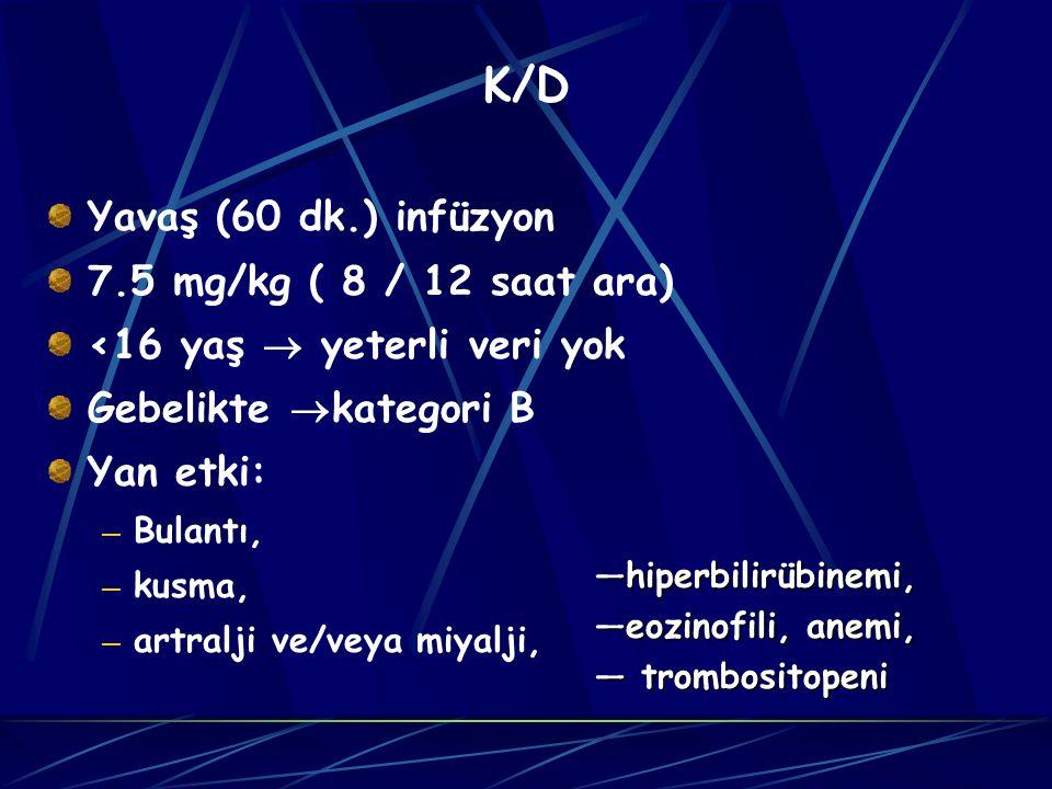K/D Yavaş (60 dk.) infüzyon 7.5 mg/kg ( 8 / 12 saat ara) <16 yaş  yeterli veri yok Gebelikte  kategori B Yan etki: — Bulantı, — kusma, — artralji ve/veya miyalji, —hiperbilirübinemi, —eozinofili, anemi, — trombositopeni