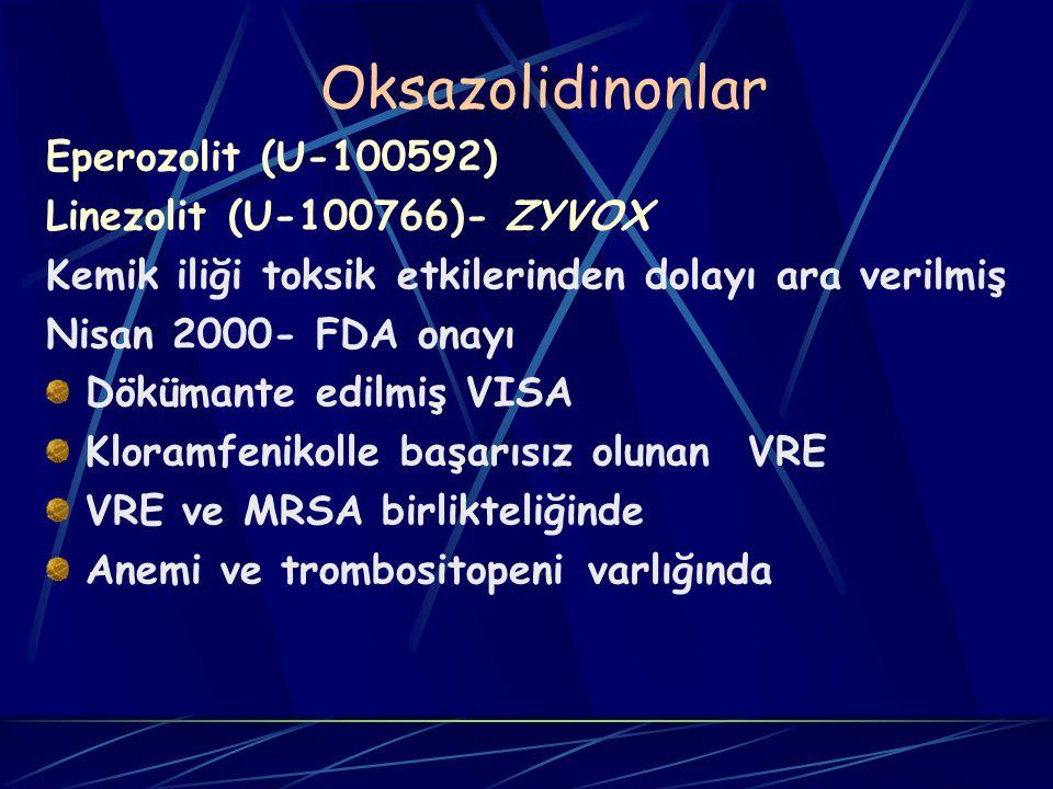 Oksazolidinonlar Eperozolit (U-100592) Linezolit (U-100766)- ZYVOX Kemik iliği toksik etkilerinden dolayı ara verilmiş Nisan 2000- FDA onayı Dökümante edilmiş VISA Kloramfenikolle başarısız olunan VRE VRE ve MRSA birlikteliğinde Anemi ve trombositopeni varlığında