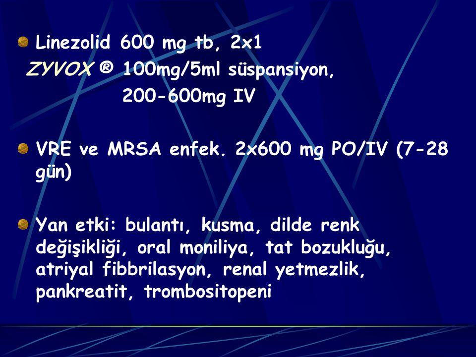 Linezolid 600 mg tb, 2x1 ZYVOX ® 100mg/5ml süspansiyon, 200-600mg IV VRE ve MRSA enfek.