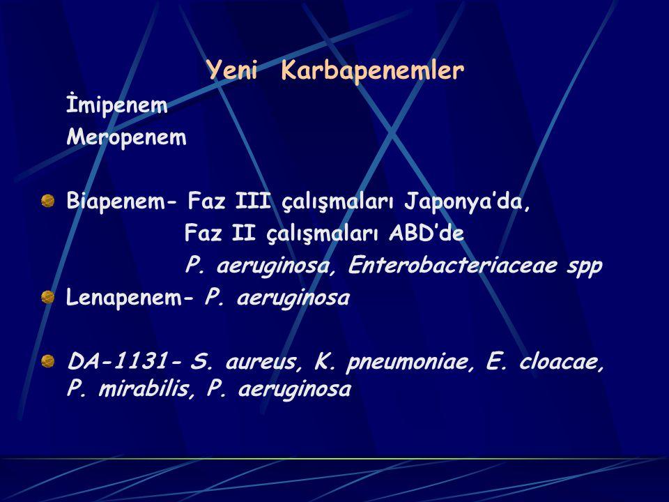 Yeni Karbapenemler İmipenem Meropenem Biapenem- Faz III çalışmaları Japonya'da, Faz II çalışmaları ABD'de P.