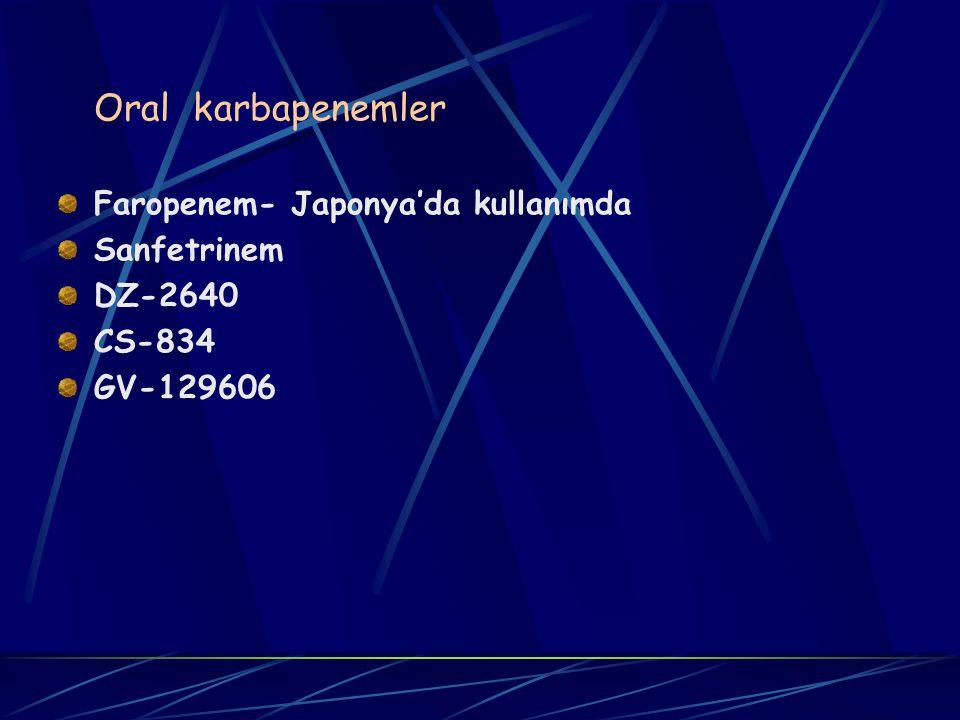 Oral karbapenemler Faropenem- Japonya'da kullanımda Sanfetrinem DZ-2640 CS-834 GV-129606