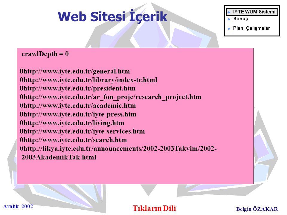 Aralık 2002 Tıkların Dili Belgin ÖZAKAR Web Sitesi İçerik u IYTE WUM Sistemi u Sonuç u Plan. Çalışmalar crawlDepth = 0 0http://www.iyte.edu.tr/general