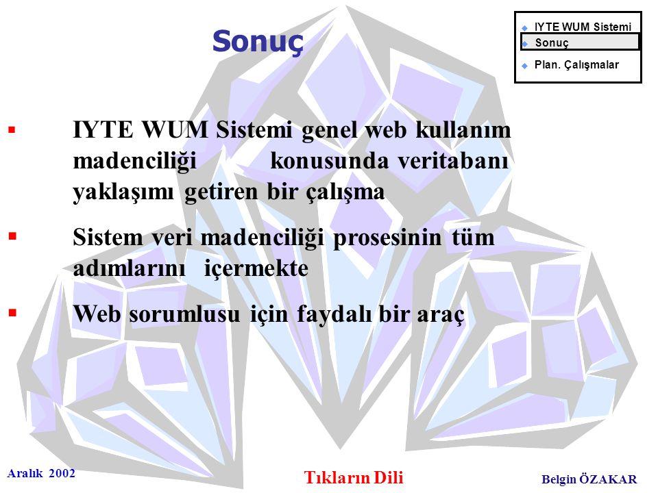 Aralık 2002 Tıkların Dili Belgin ÖZAKAR  IYTE WUM Sistemi genel web kullanım madenciliği konusunda veritabanı yaklaşımı getiren bir çalışma  Sistem veri madenciliği prosesinin tüm adımlarını içermekte  Web sorumlusu için faydalı bir araç Sonuç u IYTE WUM Sistemi u Sonuç u Plan.
