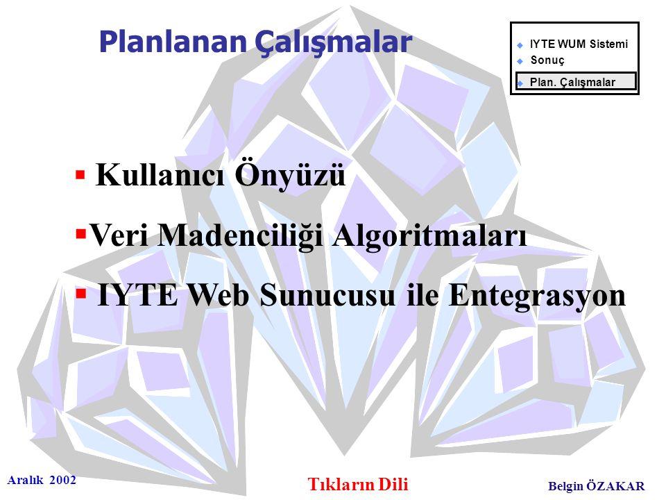 Aralık 2002 Tıkların Dili Belgin ÖZAKAR  Kullanıcı Önyüzü  Veri Madenciliği Algoritmaları  IYTE Web Sunucusu ile Entegrasyon Planlanan Çalışmalar u
