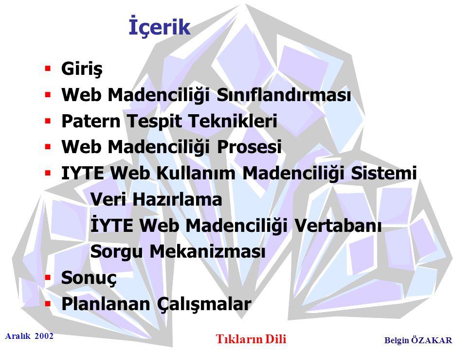 Aralık 2002 Tıkların Dili Belgin ÖZAKAR İçerik  Giriş  Web Madenciliği Sınıflandırması  Patern Tespit Teknikleri  Web Madenciliği Prosesi  IYTE W