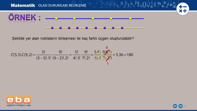 14 Şekilde yer alan noktaların birleşmesi ile kaç farklı üçgen oluşturulabilir? 4 1 OLASI DURUMLARI BELİRLEME