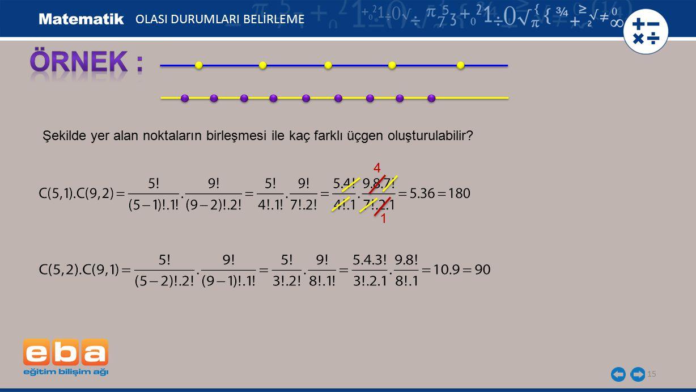15 Şekilde yer alan noktaların birleşmesi ile kaç farklı üçgen oluşturulabilir? 4 1 OLASI DURUMLARI BELİRLEME