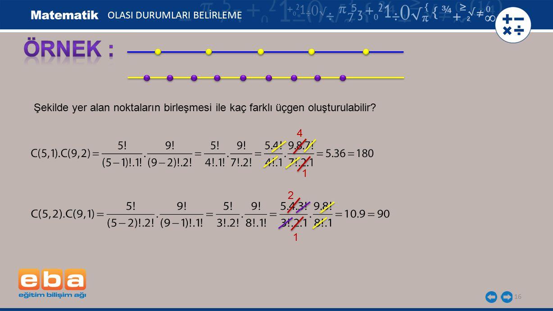 16 Şekilde yer alan noktaların birleşmesi ile kaç farklı üçgen oluşturulabilir? 4 2 1 1 OLASI DURUMLARI BELİRLEME