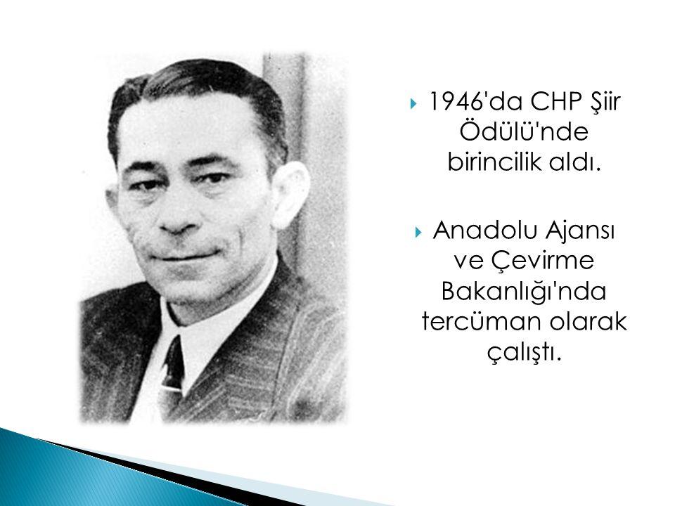  1946'da CHP Şiir Ödülü'nde birincilik aldı.  Anadolu Ajansı ve Çevirme Bakanlığı'nda tercüman olarak çalıştı.