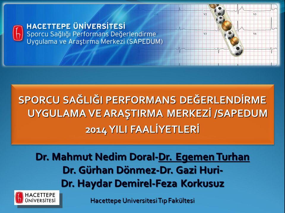 SPORCU SAĞLIĞI PERFORMANS DEĞERLENDİRME UYGULAMA VE ARAŞTIRMA MERKEZİ /SAPEDUM 2014 YILI FAALİYETLERİ Dr. Mahmut Nedim Doral-Dr. Egemen Turhan Dr. Gür