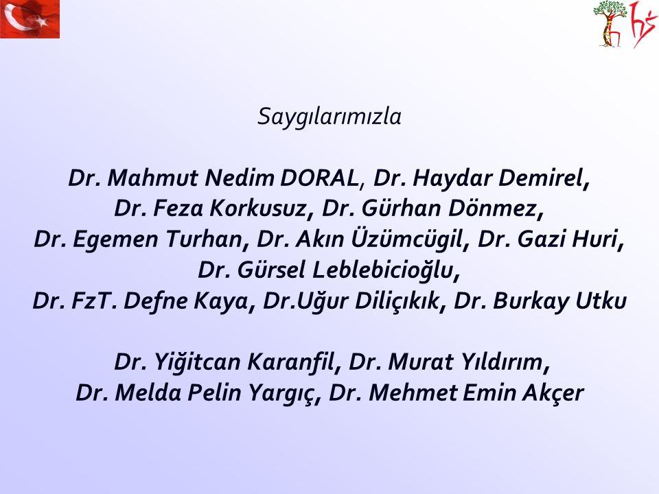 Saygılarımızla Dr. Mahmut Nedim DORAL, Dr. Haydar Demirel, Dr. Feza Korkusuz, Dr. Gürhan Dönmez, Dr. Egemen Turhan, Dr. Akın Üzümcügil, Dr. Gazi Huri,