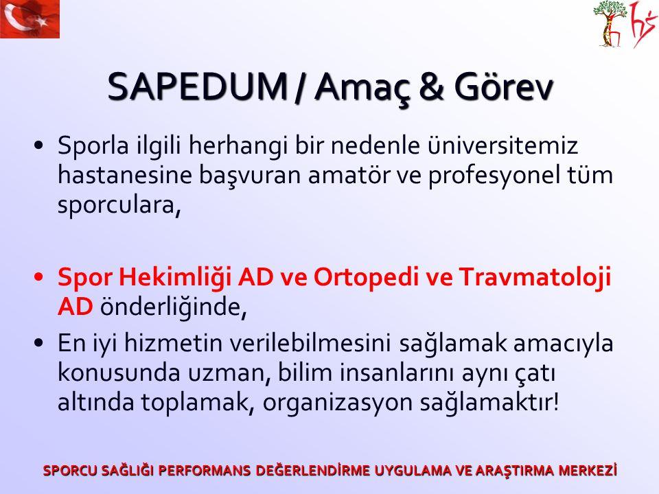 SAPEDUM / Amaç & Görev Sporla ilgili herhangi bir nedenle üniversitemiz hastanesine başvuran amatör ve profesyonel tüm sporculara, Spor Hekimliği AD v