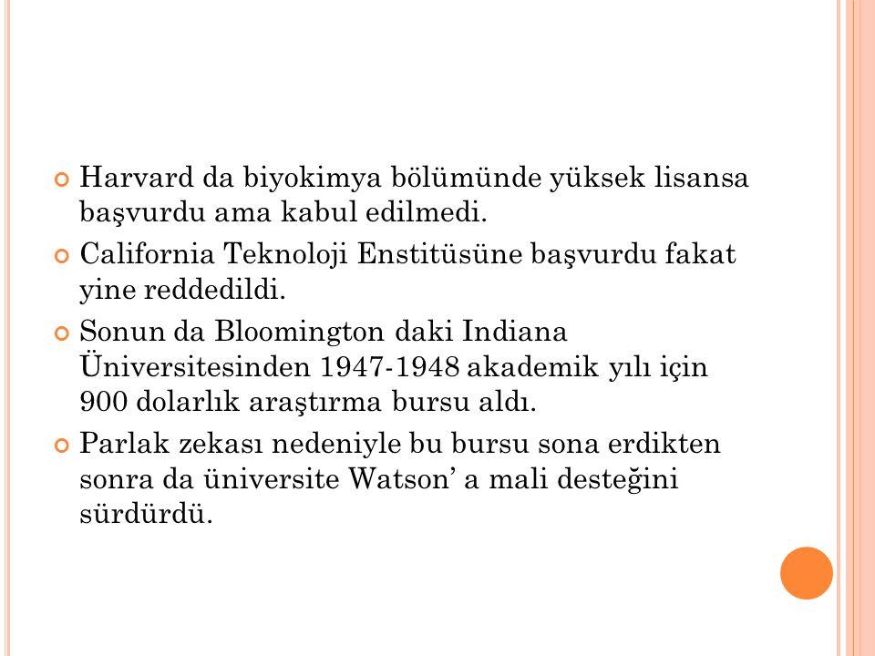 Biyokimya doktorasını Indiana'dan 1950'nin mayıs ayında aldı.