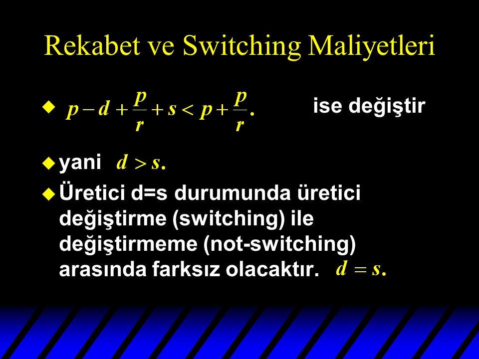 Rekabet ve Switching Maliyetleri u ise değiştir u yani u Üretici d=s durumunda üretici değiştirme (switching) ile değiştirmeme (not-switching) arasında farksız olacaktır.